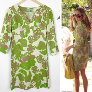 Boden Floral Leaves Green Pink Tunic Top US Size 4